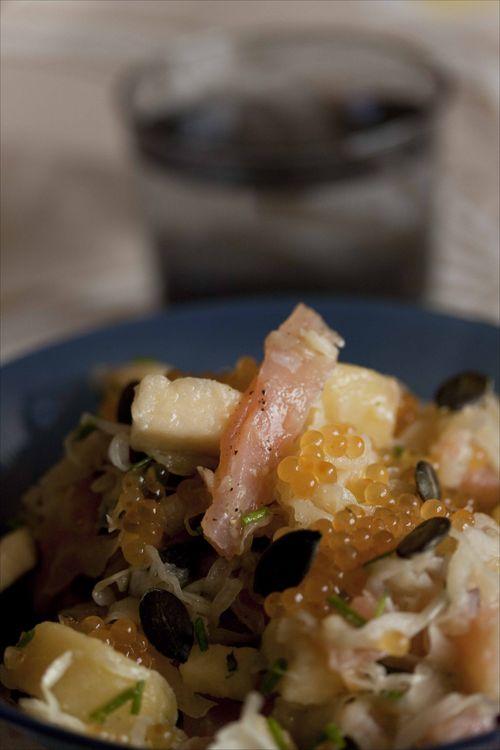 Salade de choucroute aux oeufs de truite 2