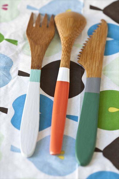 Couverts en bambou coloré Monoprix