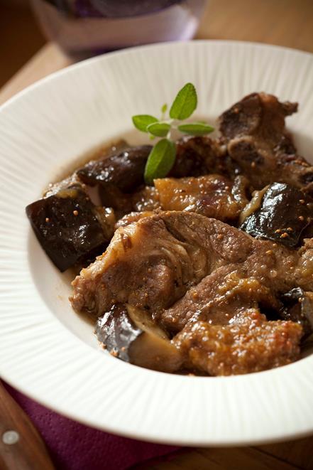 Côtes de porc secondes confites à l'aubergine et à la figue 2
