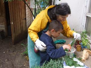 Anne Ribes et un enfant