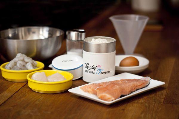 Les ingrédients de ma recette facile de feuilleté de saumon aux crevettes et aux coquilles saint-jacques
