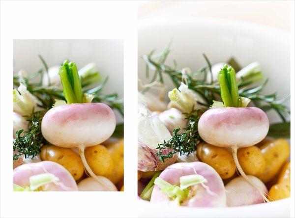 mélange de navets nouveaux, pommes de terre nouvelles, ail frais et herbes aromtiques