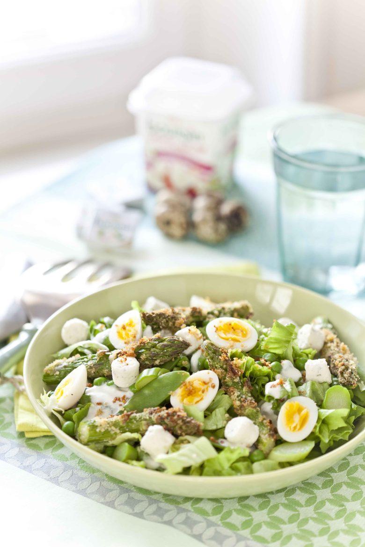 Salade de légumes de printemps au Boursin sauce boursin et boursin salade