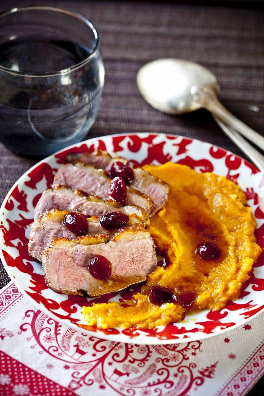 Magret de canard aux cranberries fraîches et purée de patate douce