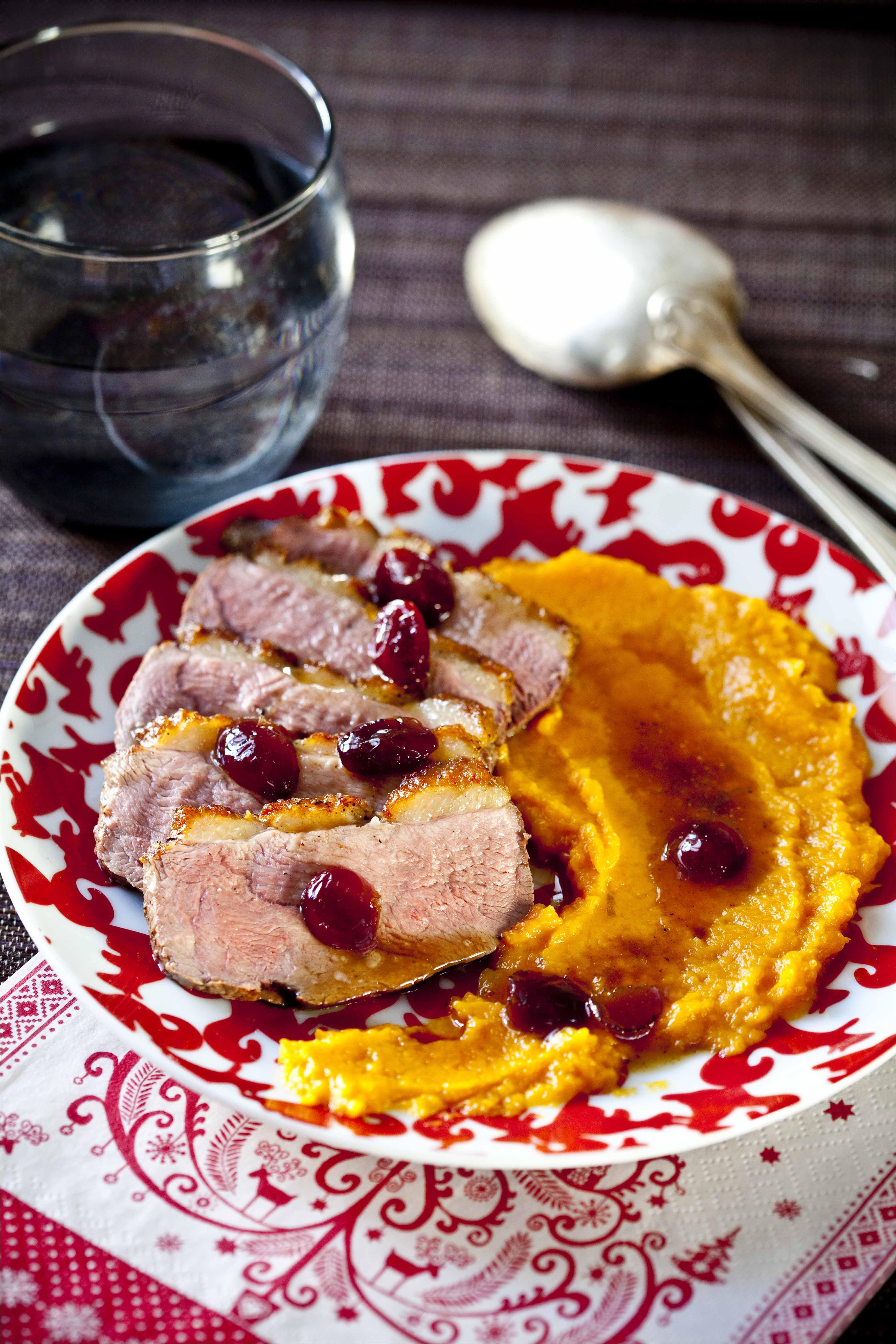 Ton d ner de no l magret de canard aux cranberries pur e de patates douces panier de saison - Magret de canard noel ...