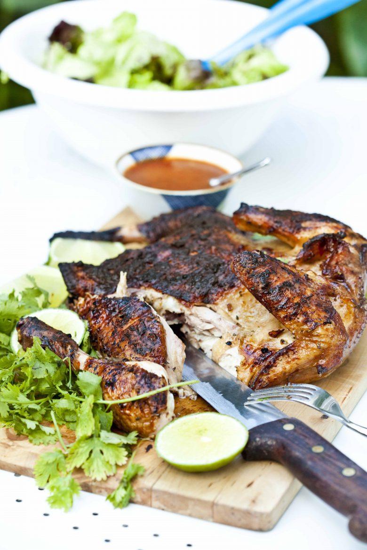 poulet en crapaudine et cuit à la texane au barbecue