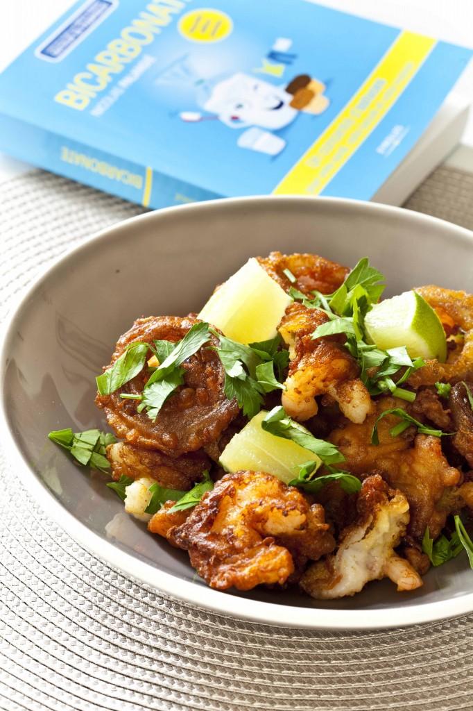 Beignets de crevettes et oignons, livre bicarbonate de soude, Nicolas Palangié
