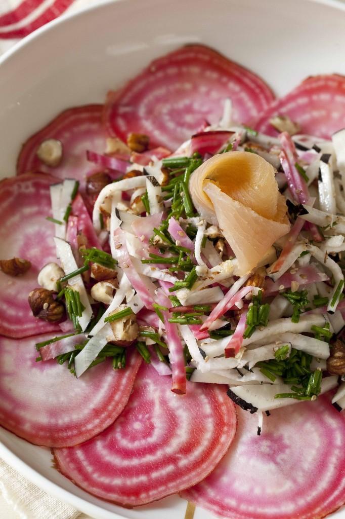 Salade de betteraves, radis noir et truite fumé 31