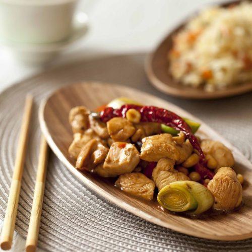 Recettes chinoises de poulet gong bao et de riz cantonais