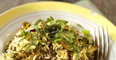 sauté de riz aux artichauts, riz long de Camargue IGP