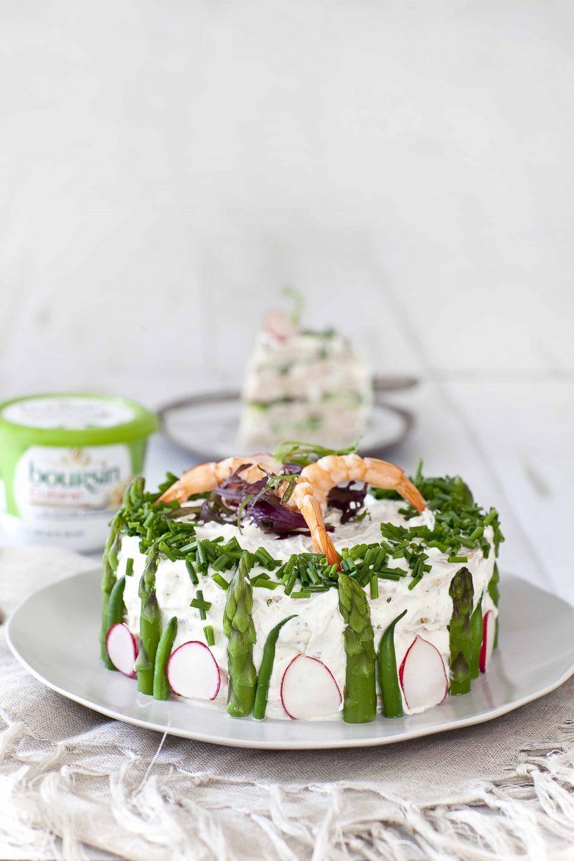La recette du sandwich cake aux crevettes et asperges vertes