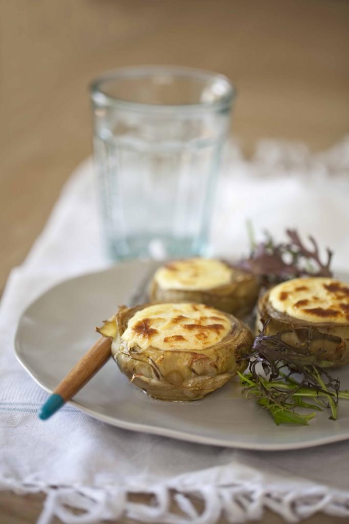 la recette des artichauts gratinés au chèvre frais