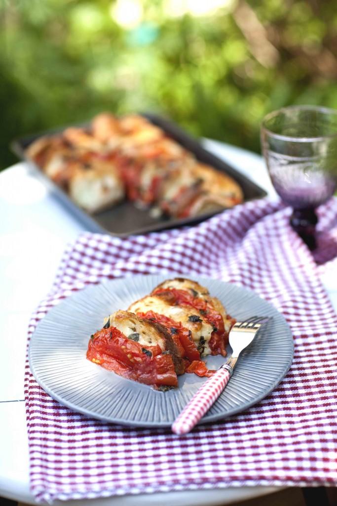 Gratin de pain à la tomate mozzrella 3c