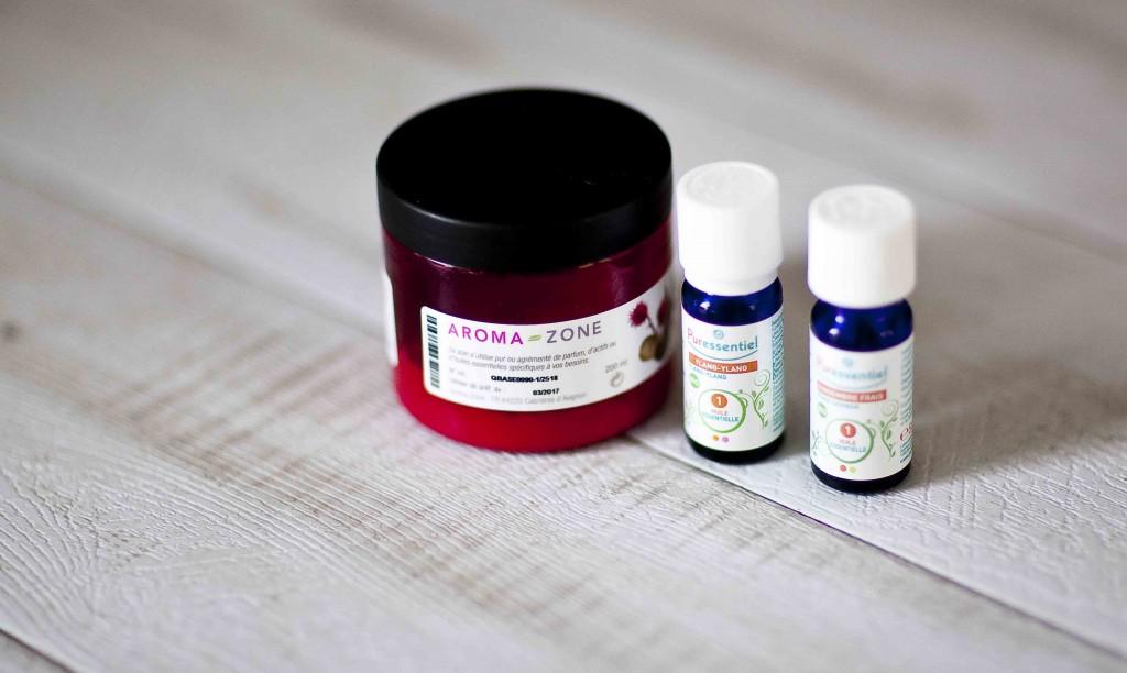 Masque base neutre Aroma-zone et huiles essentielles Puressentiel