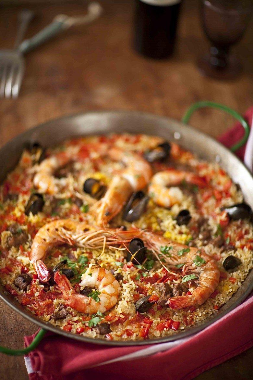 recette de la paella terre mer