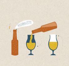 Bouteille, verre et bière dans Biérogrpahie