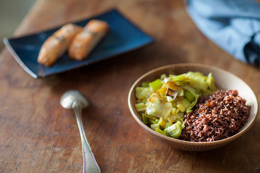 Sauté de poireaux huile de coco et riz rouge de camargue©AnneDemayReverdy01