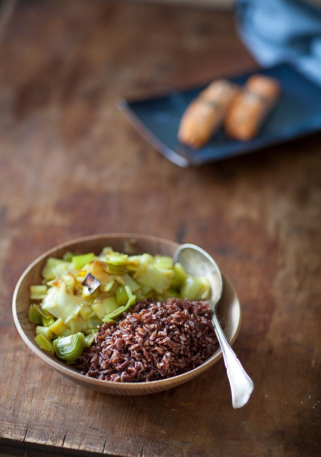 Sauté de poireaux huile de coco et riz rouge de camargue©AnneDemayReverdy02