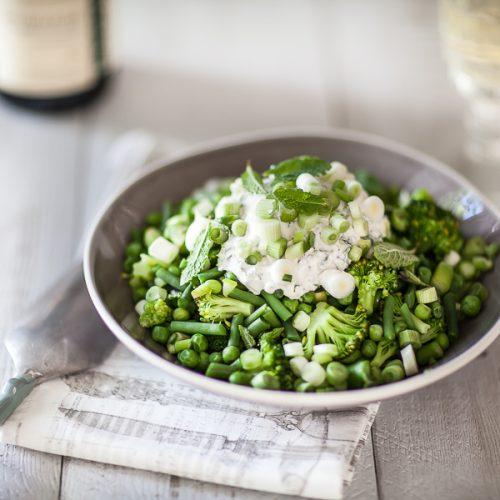 La recette des legumes d eprintemps tièdes au fromage frais à la menthe
