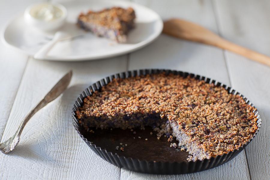 recette de galette de quinoa au chou-fleur violet pour repas végan