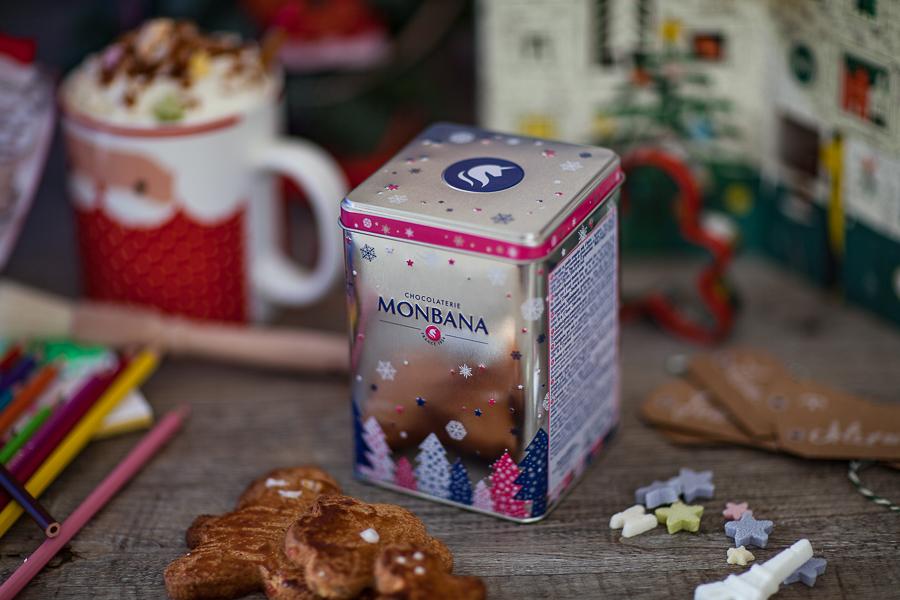 Boîte de chocolat en poudre aux épices de Noël Monbana