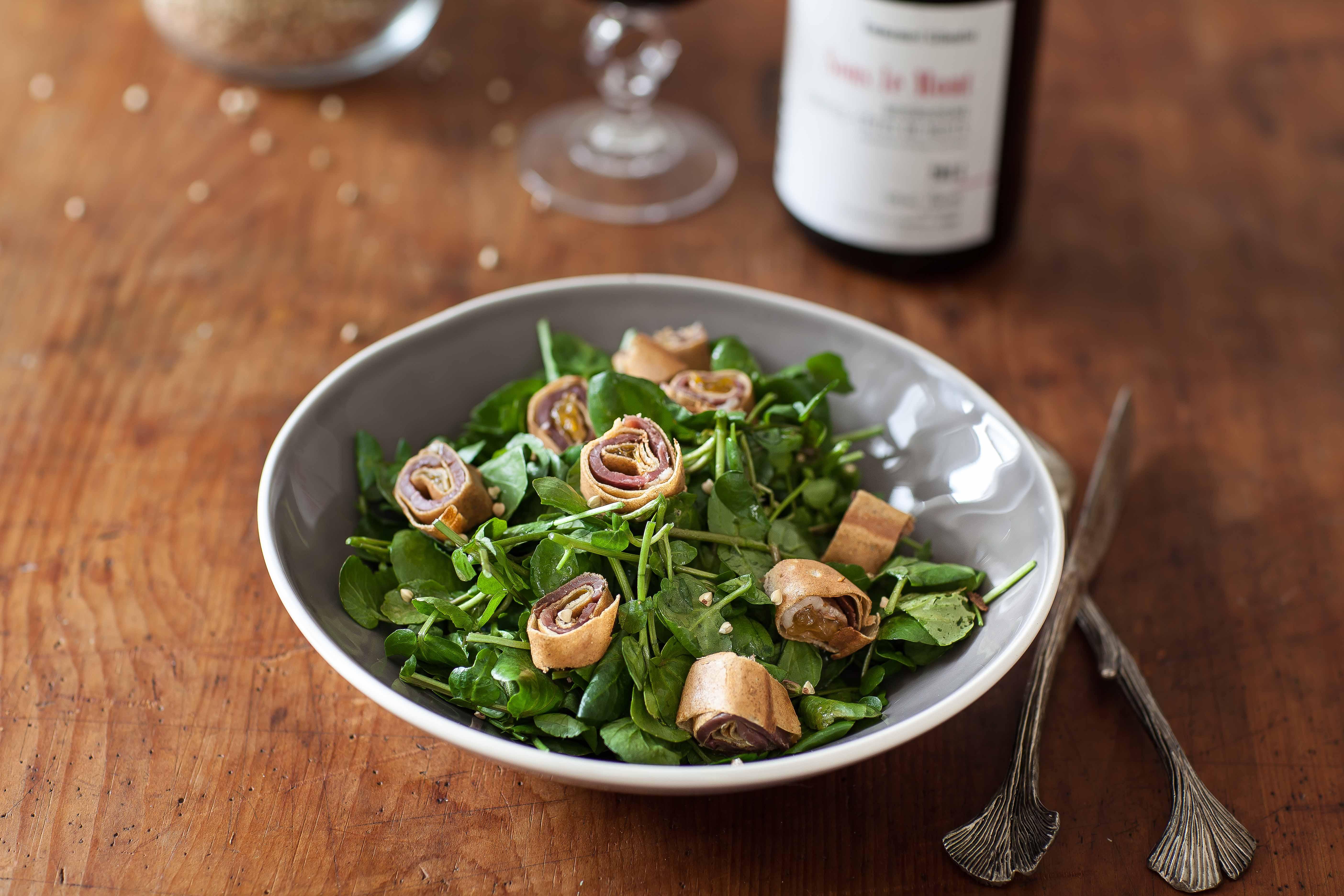 salade cresson crepe canard recette