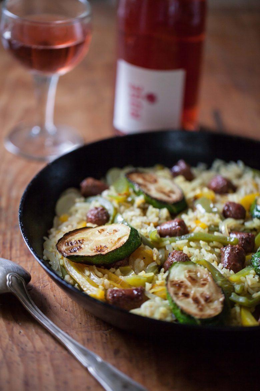 recette de la paella aux légumes et aux merguez