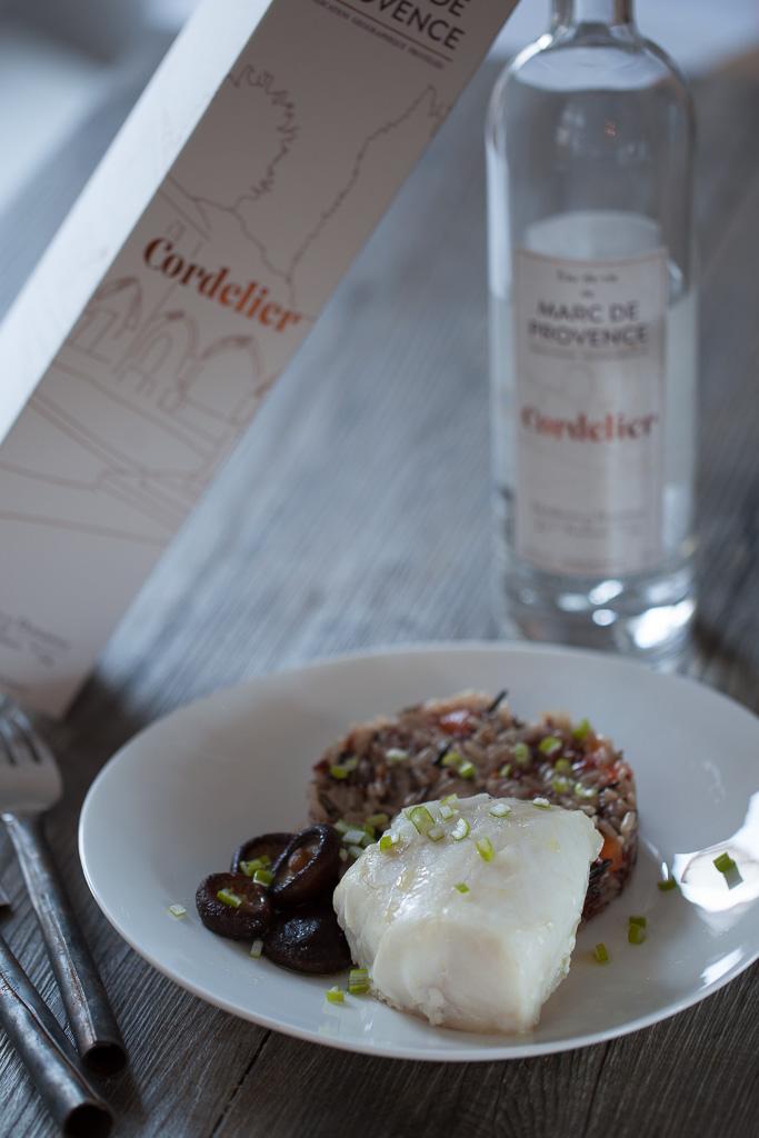 cabillaud au marc de Provence et aux shiitake