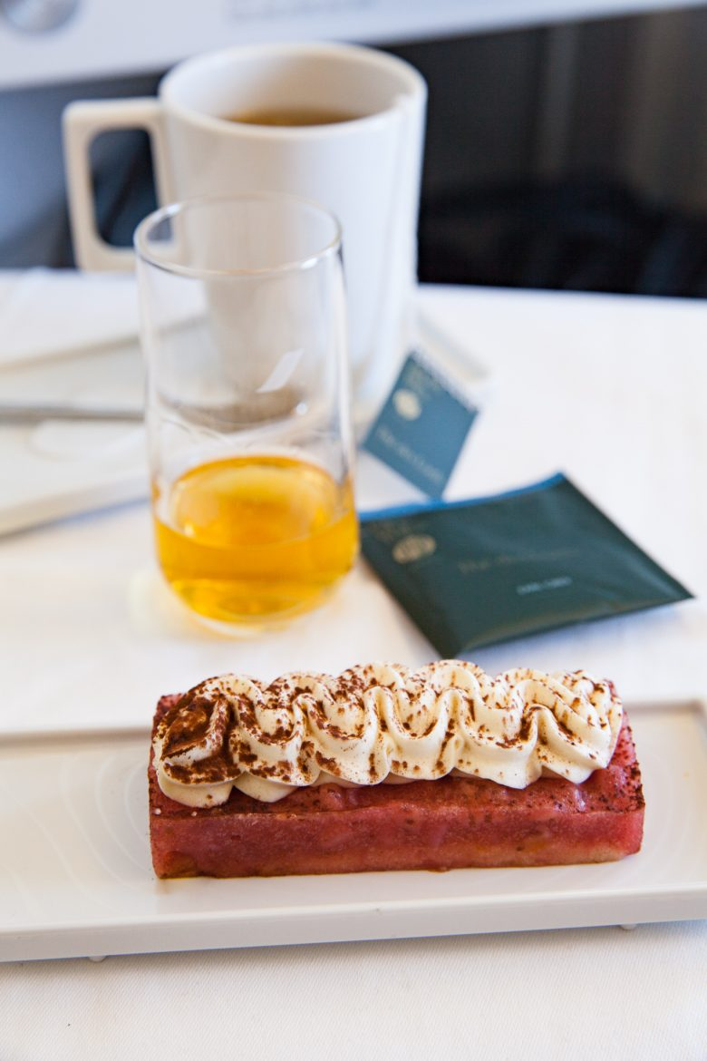 un des desserts de la carte menu de la cabine Best Business Air France