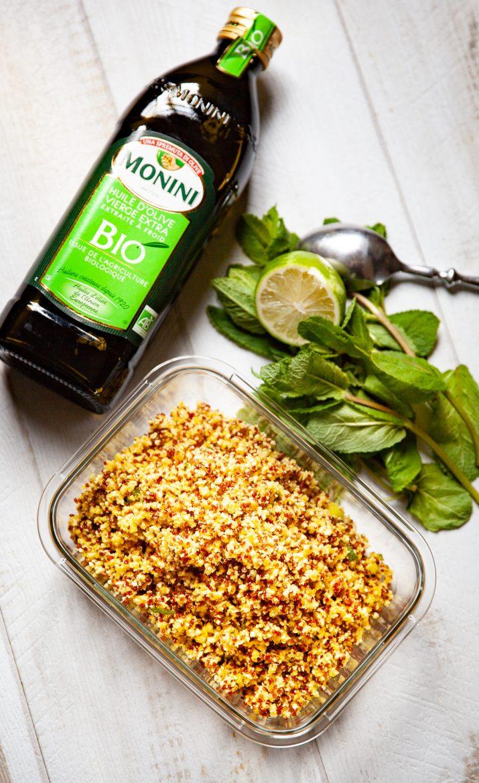chou-fleur au curcuma et au quinoa en salade