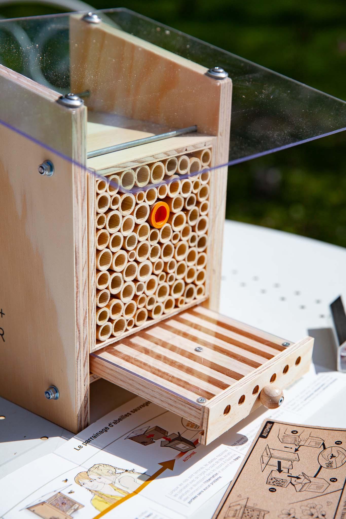 BeeHome avec son tiroir d'observation, le tube pas encore ouvert (opercule orange) et qui contient les cocons de ta génération d'abeilles sauvages maçonnes