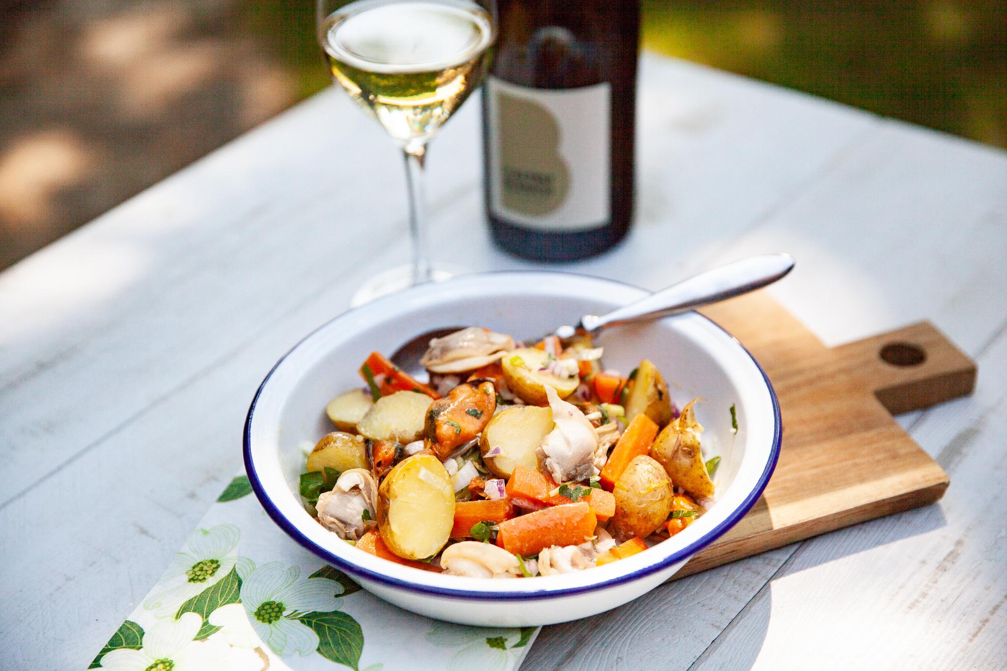 Salade de bonnottes et coquillages recette