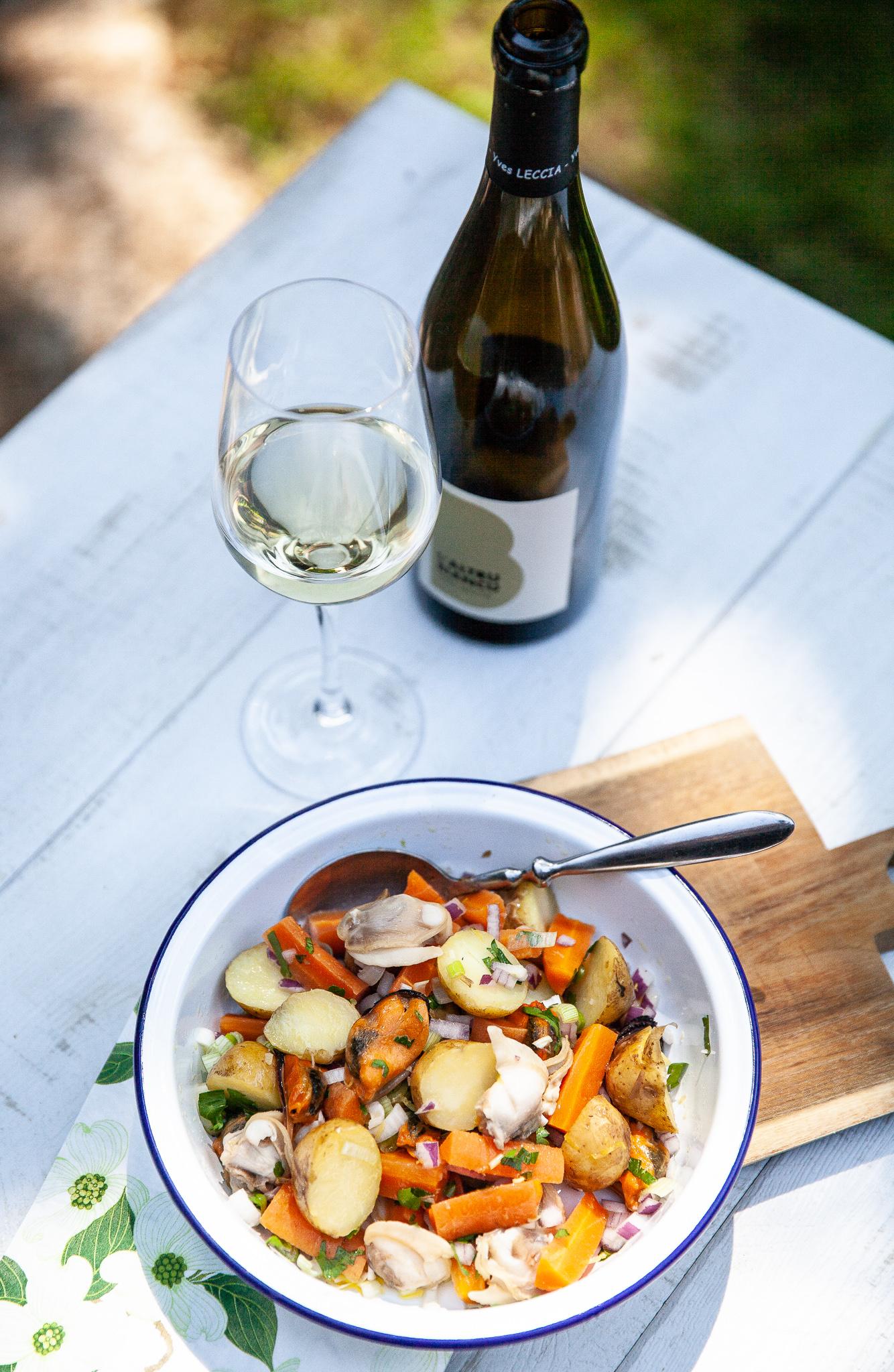 recette de salade de pommes de terre et coquillages, vin corse blanc yves leccia