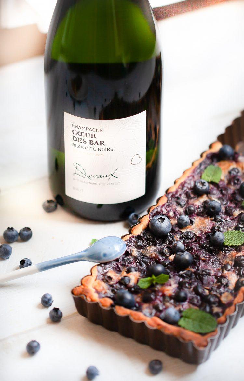 tarte aux myrtilles et champagne Devaux Coeur des Bar