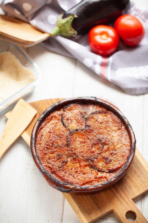 gratin d'aubergines, de mozzarella et parmesan