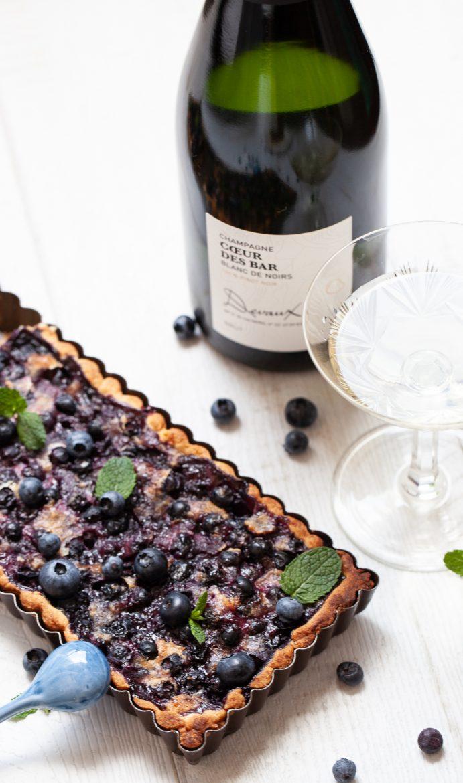 Tarte aux myrtilles et champagne Devaux