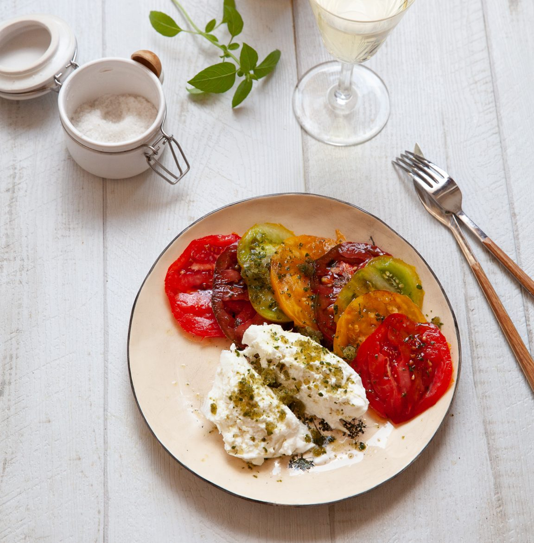 Tomates burrata au granité de basilic recette