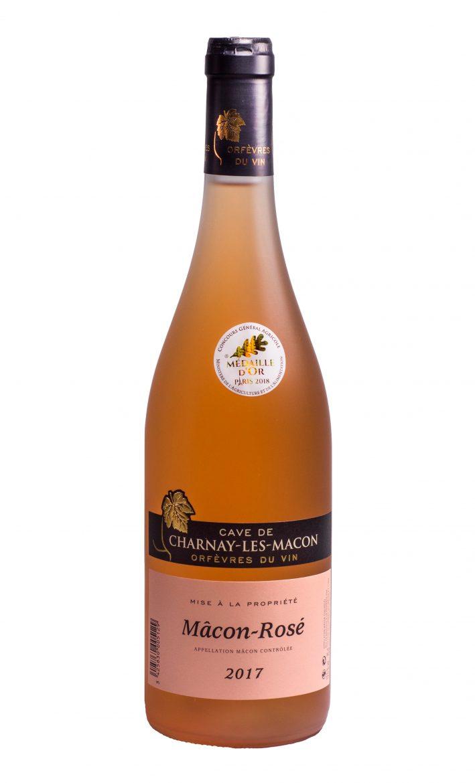 Bouteille du Mâcon rosé 2017 de la cave de Charnay médaille d'or au cga 2018