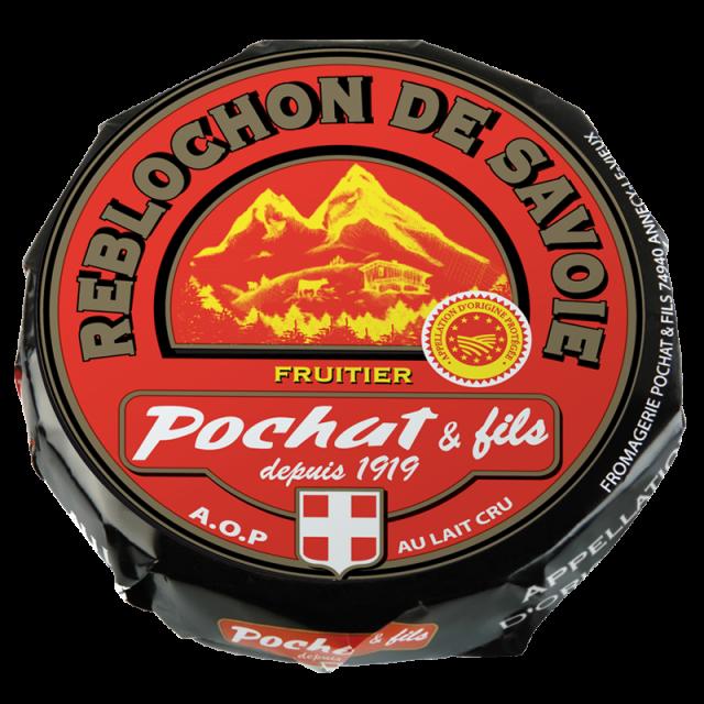 Emballage rouge et noir du reblochon Pochat & Fils
