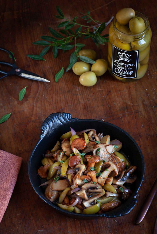 Recette de poêlée de champignons aux olives Manzanilla d'Espagne