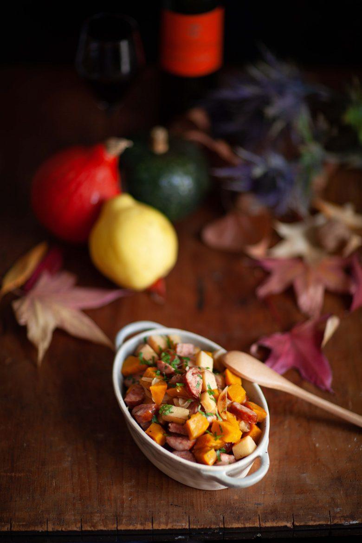 Sauté de saucisse de montbéliard, potimarron et coing, recette d'automne