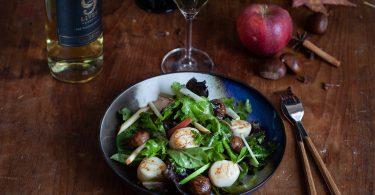 Ma recette de salade de noix de st jacques aux châtaignes en accords mets vins avec le Sauvignon Gato Negro