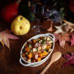 la recette du sauté de saucisse Montbéliard, potimarron et coing