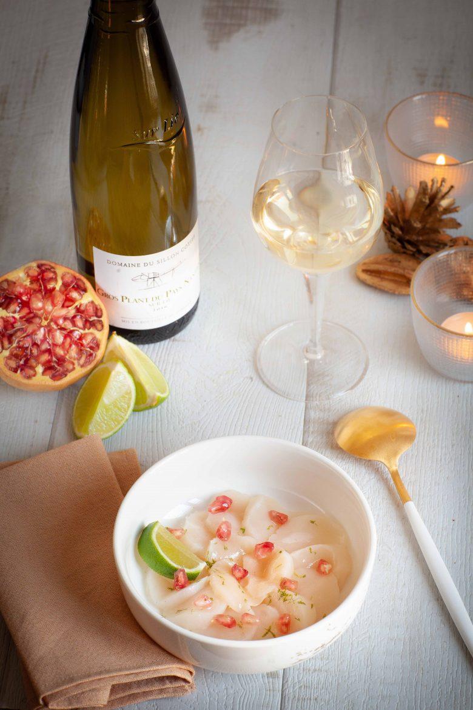 Recette de carpaccio de coquilles saint-jacques à la grenade et au citron vert, vin Gros-Plant du Payx Nantais