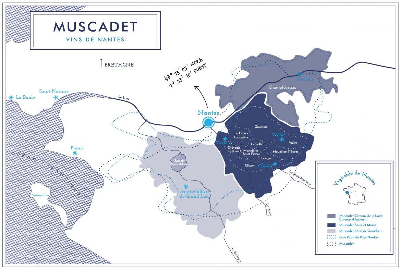 carte de l'AOC Muscadet avec les terroirs et les crus communaux