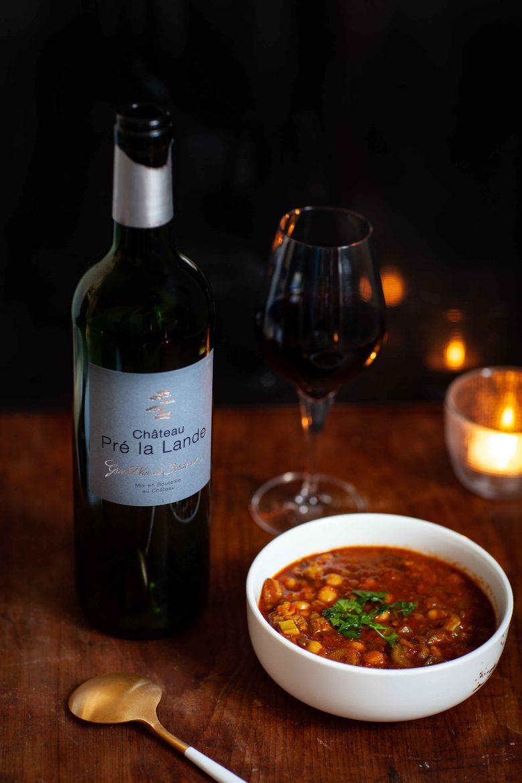 vin rouge de bordeaux, Château Pré La Lande et Harira, la recette traditionnelle