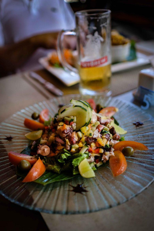 Salade de poulpe au Coco Blu à Victoria Mahé Seychelles