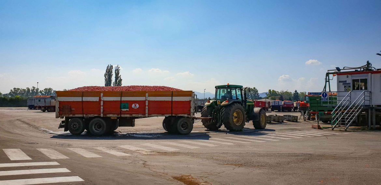 un camion de producteur de tomates à l'usine Mutti
