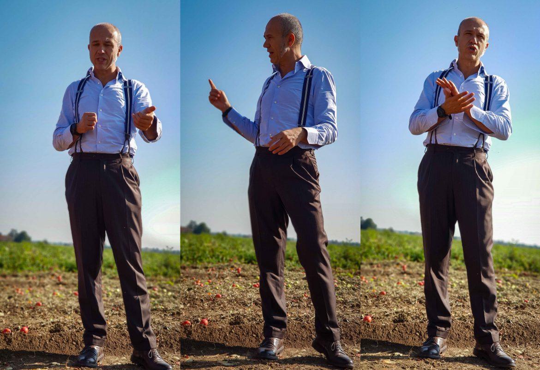 Francesco Mutti dans les champs de tomates à côté de Parme