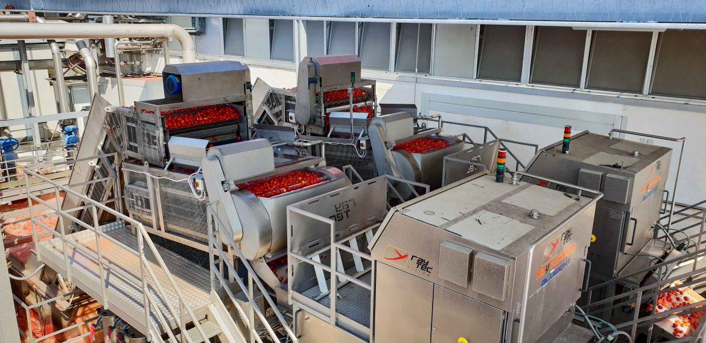 Tomates à l'entrée de l'usine Mutti